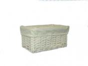 Woodluv White Wicker Storage Basket with White Cotton Lining