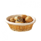 Round Shape Bread Basket Made of Natural Wicker with Lining