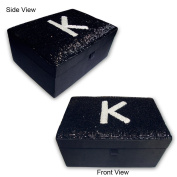 Handmade Black Glass Pipes Work On Cosmetic And Jewellery MDF Box In Satin Fabric. Cbox0265
