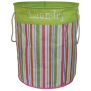 Stripe Green Laundry Bag With Handles Washing Clothes Linen Basket