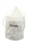 Premier Housewares Nylon Laundry Hamper with Drawstring Top, Cream