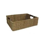 Woodluv Brand New Seagrass Storage Basket With Wood Handles Storage Hamper Medium