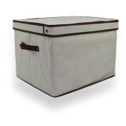 Regular Cream Folding Linen Storage Box / Laundry Basket