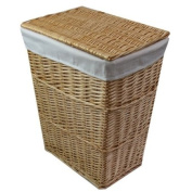 JVL Classic honey lined tapered willow wicker rectangular linen laundry basket