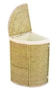 Woodluv Seagrass & Chr. Corner Linen Bin Folding/Seagrass Storage Laundry Basket