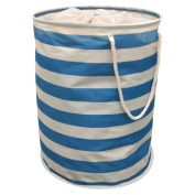 Striped Nautical Pop Up Laundry Hamper Storage Washing Bag With Carry Handles