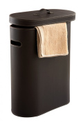 Nicol 1460538 Lara Laundry Bin Oval Synthetic Leather with Reptile Embossing, Brown