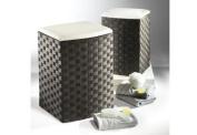 cane laundry basket black nylon S/2