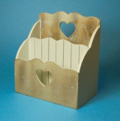 Shabby Chic Style Wooden Letter Rack with Heart Detail