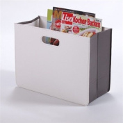 """Faux Leather """"Pure"""" Modern NEWSPAPER & MAGAZINE RACK HOLDER box for from XTRADEFACTORY white"""