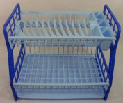 Plastic Dish Drainer Sink Cutlery Rack Holder Plates Tray Rack Blue 2 Tier New