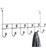 Hassle Free, Fantastically Durable Chrome Plated Finish 12 Chrome Ball Over Door Clothes / Coat / Jacket Hanging Hooks (H23, W47, D12.5cm) - Chrome