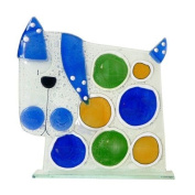 Jazzitup Large Bubbles Dog Fused Glass Table Art