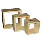 Set Of Three Wooden Cedar Timber Wall Cube Shelves
