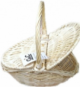 TRADITIONAL CREAM WICKER FLAP LID BASKET STORAGE