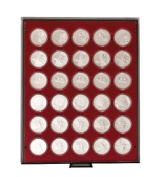 Coin box with 30 compartments, each 39 mm . [Lindner 2626] Rauchglas