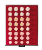 Coin box with 40 compartments for 5 regular Euro coin sets [Lindner 2956] Rauchglas