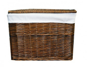 Woodluv Med. Brown Wicker With White Linning Storage Basket Trunk Chest Hamper With Lid