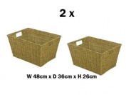 2 X Large Seagrass Shelf Storage Hamper Basket / Floor Basket