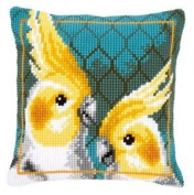 Cross Stitch Cushion Cockatiels