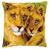 Cross Stitch Cushion Lion And Cub