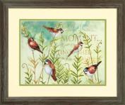 Birds On Ferns Stamped Cross Stitch Kit-30cm x 23cm