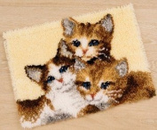 Vervaco PN-0147357 Canvas Three Kittens Rug Latch Hook Kit 55 x 40cm Approx