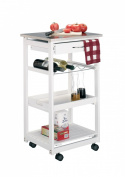 Zeller 13772 Kitchen Trolley with Stainless Steel Top / 47 x 37 x 82 White