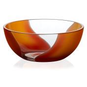 "Crystal Bowl, Fruit Bowl, Salad Bowl, Ideal for dinner parties, Collection ""ELEMENTS"", 20,5 cm, orange/red"