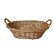 JVL 25 x 15 x 8 cm Oval Steamed Willow Basket with Handles