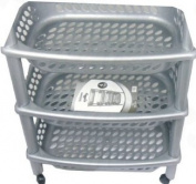 Multi Purpose High Quality Black / Grey Plastic Fruit or Vegetable Kitchen Storage Rack Trolley 4 or 3 Tier