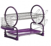 2 TIER DISH DRAINER CUTLERY PLATES TRAY RACK HOLDER CHROME PURPLE NEW