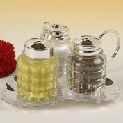 Cruet Set 3pce Silver Plated leaf design with tarnish resistant finish that never needs polishing