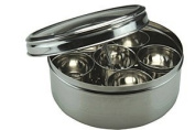 Apollo 21 cm Dia Stainless Steel Masala Spice Container/ Box with 7 x Seperate Compartments and 1 x Free Spice Spoon