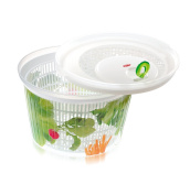 Snips Ulaop Centrifugal Decorated Clear Plastic Salad Spinner, White/ Green/ Red