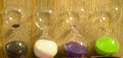 See Through Glass 8 Minute Sand Egg Timer With Black White Green or Purple Sand Kitchen Timer Accessory