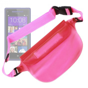 """""""Travel"""" Phone Waterproof & Sand Proof Dry Case With Adjustable Waist Strap For HTC Windows Phone 8S, HTC Desire 200, One X 5, Desire X & HTC Desire 600 Dual Sim, By DURAGADGET"""