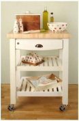 T & G FlatpackTrolley.Pembroke Model with a Stressed Cream Finish .69.5x50x90