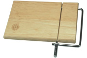 Hevea Wood Cheese Board with Wire Slicer 25x19cm