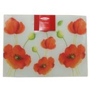Alpine Poppy Glass Worktop Saver Red/White 40x30cm Kitchen