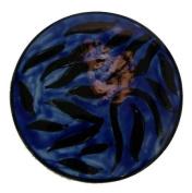 Hand Painted Ceramic Coaster - 'Black / Blue Swirl' Design