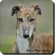 "Brindle Greyhound Dog ""Love You Mum..."" Mothers Day Sentiment Single Leather Coaster Gift"