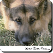 """German Shepherd Dog """"Love You Mum..."""" Mothers Day Sentiment Single Leather Coaster Gift"""