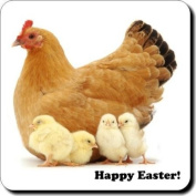 """Hen and Chicks """"Happy Easter!"""" Sentiment Single 90cm leather Coaster"""