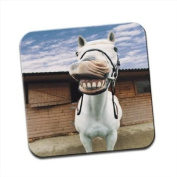 Horse With Mouth Open Laughing Funny Single Premium Glossy Wooden Coaster