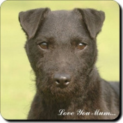 """Patterdale Terrier Dogs """"Love You Mum..."""" Mothers Day Sentiment Single Leather Coaster Gift"""