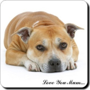 """Red Staffordshire Bull Terrier Dog """"Love You Mum..."""" Mothers Day Sentiment Single Leather Coaster Gift"""