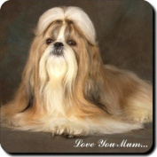 "Shih Tzu Dog ""Love You Mum..."" Mothers Day Sentiment Single Leather Coaster Gift"