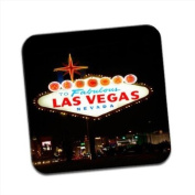 Welcome To Las Vegas Single Premium Glossy Wooden Coaster