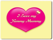 A large fridge magnet, wall / door plaque or coaster with the wording I LOVE MY YUMMY MUMMY printed on alloy metal from our unique KEEP CALM and CARRY ON gift range. An original Birthday or Mother's Day Gift idea for March 10th.